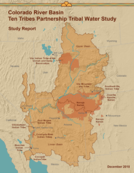 Colorado River Basin Ten Tribes Partnership Tribal Water Study Report, cover of report it is a map.