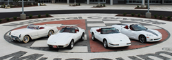 Several white Corvette models lined up