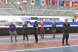 SLCC students shown at the Utah Olympic Oval, where they are training to be part of the 2022 Winter Games in speedskating.