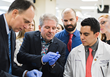 Tony Nobles demonstrates how one of his products works during a visit to Liberty University College of Osteopathic Medicine in October 2018.