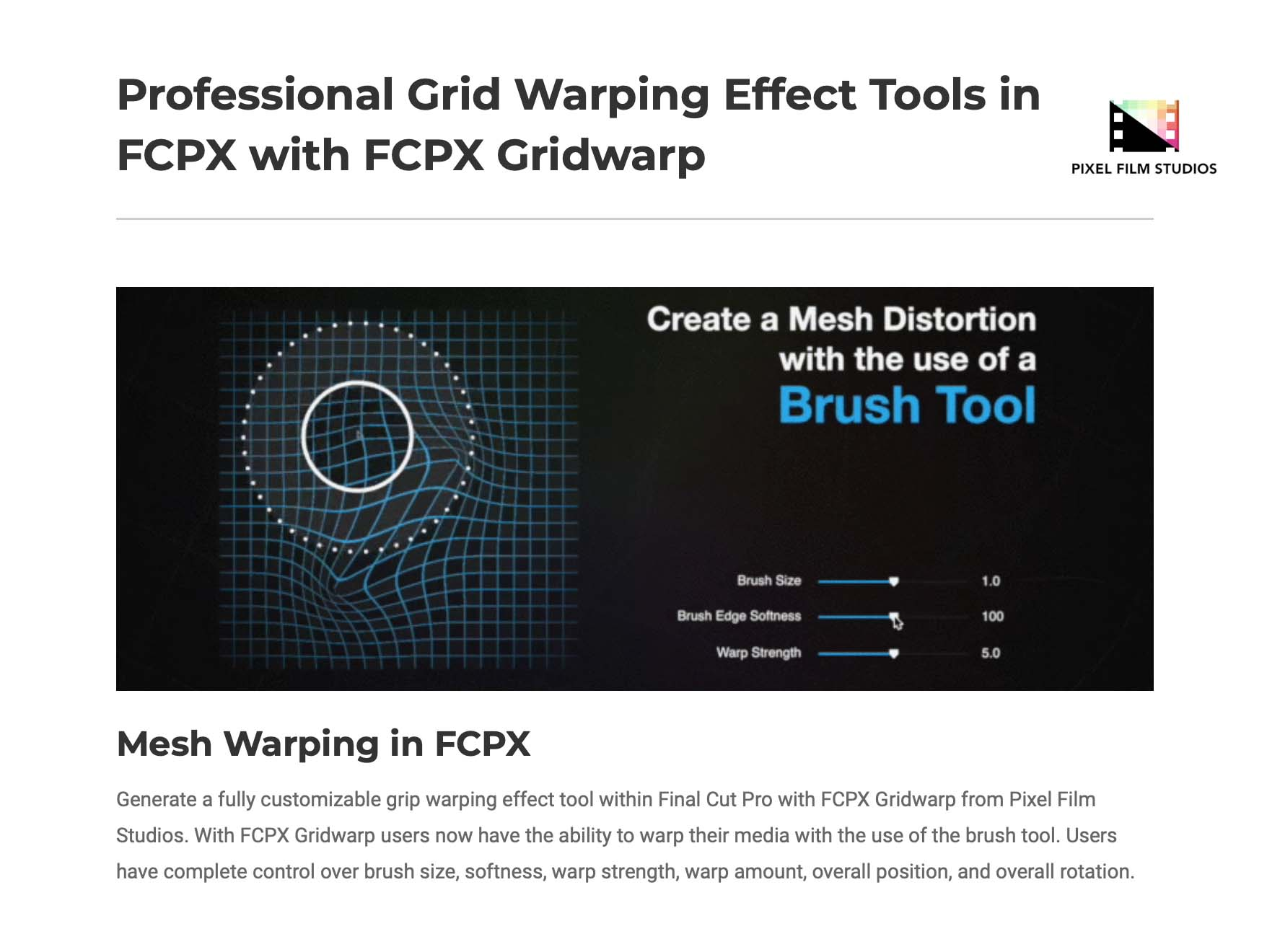 Developers at Pixel Film Studios Launch FCPX Gridwarp for Final Cut