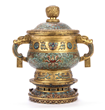 Lot #872, a 19th Century Chinese Gilt Bronze Cloisonné Urn, Estimated at $2,000-4,000.