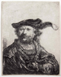 "Rembrandt's ""Self Portrait in Velvet Cap and Plume"" on display at  Stetson University's Homer and Dolly Hand Art Center."