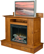 Custom, solid Wood Modesto Fireplace with optional TV Lift available from Brandenberry Furniture.