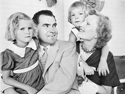 Senator and Mrs. Richard M. Nixon with daughters Tricia and Julie, July 28, 1952. Source: Library of Congress