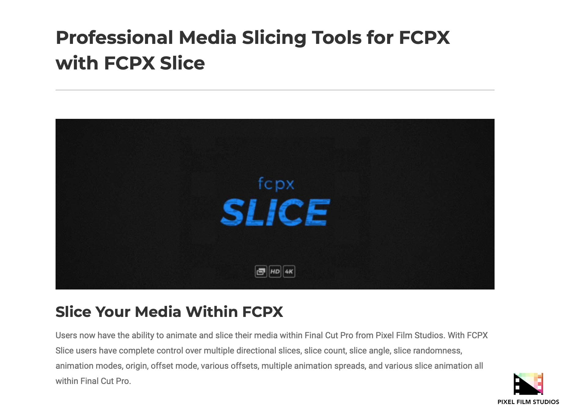 Developers at Pixel Film Studios Announce FCPX Slice for