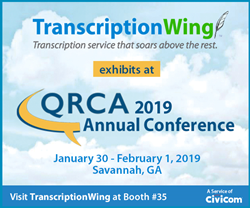 General transcription service TranscriptionWing is an exhibitor at QRCA Annual Conference 2019