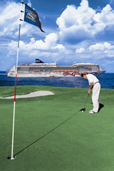 golf cruise ship golfer putting on green sea and ship background