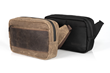 Sutter Sling Pouch — tan waxed canvas with chocolate leather or black ballistic nylon with black leather