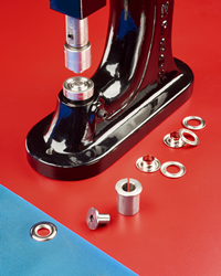 Conversion kit fits any grommet press that uses a Stimpson® self-piercing grommet.