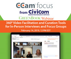 CCam focus webinar online 360 streaming and recording of live in-person focus groups with built-in video curation tools