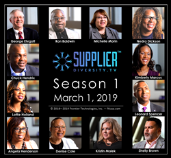 Supplier Diversity TV logo and launch date (March 1st, 2019) centered on black flyer background, surrounded by 12 faces and names (clipped from episodes) of supplier diversity leaders and experts who appear in the series.