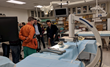 Cristian Atria (right) demonstrates nView's instant 3D imaging technology to Timothy Witham, MD (left) and Assistant Professor Mathias Unberath (center)