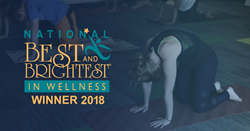 image of yoga class and best and brightest wellness award winner logo