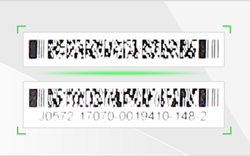 A blurred PDF417 barcode