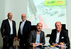 P. Dimitri, Operations Director, WEC; S. Vollmer, Branch Manager DHL Global Forwarding; S. Andriolo, ACO Marketing Director; T. Nieszner, President & Global Head of Motorsport at DHL Global Forwarding