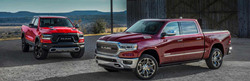 Red 2019 Ram 1500 and maroon 2019 Ram 1500.