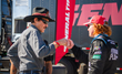 """The King"" Richard Petty shares a moment with his grandson, Thad Moffitt, at Daytona International Speedway"
