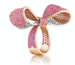 Mimi So, Bow Ring, handcrafted in 18k rose and white gold, pink sapphires and diamonds.