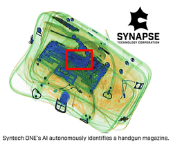Unlike traditional detection methods, Syntech ONE automatically detects individual gun components using artificial intelligence. In this example, the AI autonomously identifies a handgun magazine.