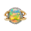 Opal Ring by Jeffrey Bilgore. 5.19 ct. Gem Australian Crystal Opal, with diamonds, set in 18K yellow gold and platinum.