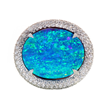 Opal Ring by Jeffrey Bilgore. 7.71 ct. Gem Australian Boulder Opal, with diamonds, set in platinum.
