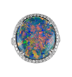 Opal Ring by Jeffrey Bilgore. 8.85 ct. Gem Australian Black Opal, Lightening Ridge, with diamonds, set in platinum.
