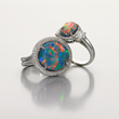 Opal Rings by Jeffrey Bilgore. 8.97 ct. Gem Australian Black Opal, with diamonds, set in platinum. (2nd ring) 2.83 ct. Gem Australian Black Opal, with diamonds, set in platinum.