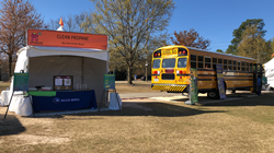 Blue Bird Corporation brought a propane-fueled yellow school bus to the Atlanta Science Festival to show students emissions-reducing propane bus technology.