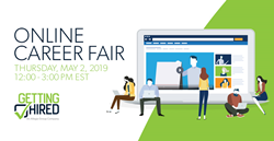 Image is promoting the details of Getting Hired's upcoming Online Career Fair. The image includes a digital image of a lap top with digitally created people preparing to log into the career fair.