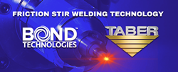 "Thee official Bond Technologies and Taber Extrusions logo over a bright cobalt blue background with an image of a friction stir welding machine with a glowing read hot tip and the words ""Friction Stir Welding Technology"" written in white."
