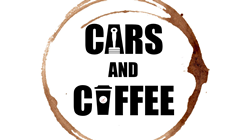 Brown Coffee Ring on White Background with Black Cars and Coffee Text in the Middle