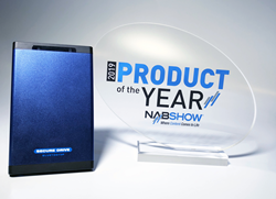 The 2019 Nab Show Product of the Year Award for Networking/Infrastructure & Security has been awarded to SecureDrive® BT