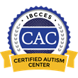 This badge bears the initials 'CAC', standing for 'Certified Autism Center', which is also listed on a ribbon at the bottom of the image. On top of the badge are the initials 'IBCCES', which stands for 'International Board of Credentialing and Continuing Education Standards.