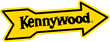 The Kennywood Park logo - a gold arrow with black bordering pointing left-to-right, tilted upward slightly. Inside the arrow, the word 'Kennywood' in black font.