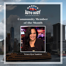 Dr. Gracelyn Santos, DDS, Barry's Auto Body shop community member of the month.