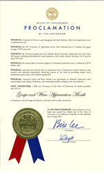 Copy of declaration of Tennessee Grape and Wine Appreciation Month.