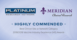 Platinum Clinical Research, named Highly Commended in the Best Clinical Site or Network Category at the 2018/2019 Vaccine Industry Excellence (ViE) Awards