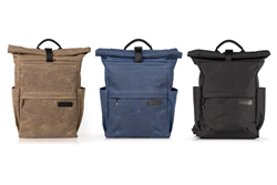 Tech Rolltop Backpack — tan, blue waxed canvas, black ballistic nylon - compact size