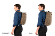 Tech Rolltop Backpack—Compact and Full size comparison