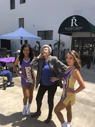 Laker Girls with Regency Palms Long Beach resident