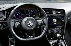 black Volkswagen steering wheel