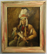 Joseph Henry Sharp (1859-1953), a portrait of a Native American Chief, oil on wood panel