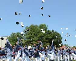 Cadets in the Class of 2019 at Fork Union Military Academy celebrate their graduation from high school.