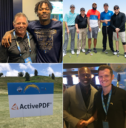 LA Chargers and ActivePDF teams pose together. Chargers and ActivePDF sign on golf course