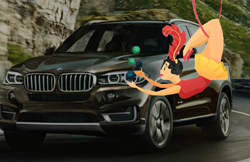 Trapeze artist in front of BMW X5 SUV