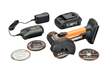 WORX 20V, Power Share, 3 in. Mini Cutter includes 20V  MAX Lithium, 1.5 Ah battery; 20V battery charger; three cutting discs; and grinding disc.