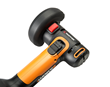 WORX 20V, Power Share, 3 in. Mini Cutter features a top-mounted, on/off slide switch with lock-on button, as well as a spindle lock button.