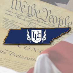 ULCM shield and laurels logo in front of an outline of the state of Tennesee and the US Constitution