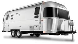 Image of the exterior of a silver 2019 Airstream Flying Cloud